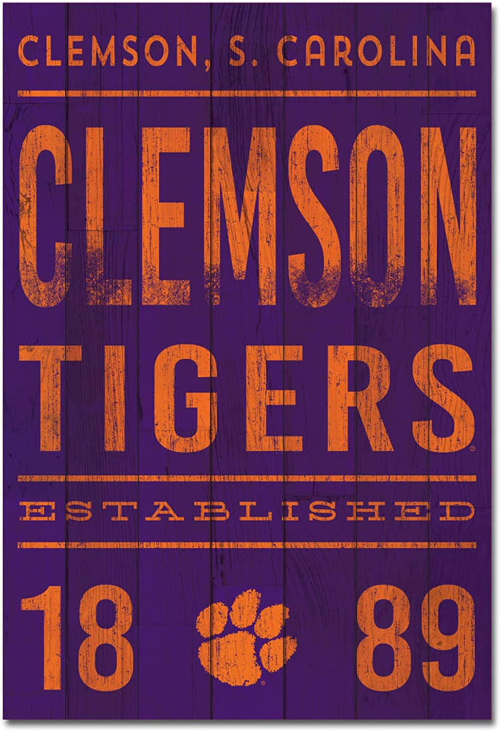 One Size Wood NCAA Legacy Clemson Tigers Showcase Wood Plank Sign 25x36