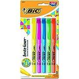 BIC BLP51WASST Brite Liner Highlighter, Chisel Tip, Assorted Colors (Set of 5)