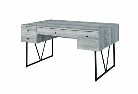 4-Drawers Writing Desk in Gray Finish