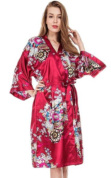 Amazon.com: Missfashion Women\'s Kimono Robe Bridesmaid Floral Satin ...