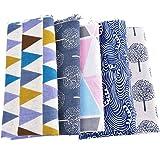 Souarts 5PCS Textile Tissu Coton Motif Arbre Vague pour Diy Patchwork Artisanat Couture 100cmx50cm