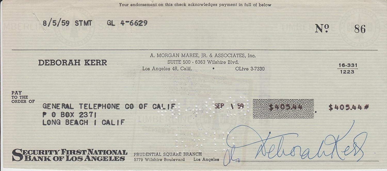 DEBORAH KERR (An Affair To Remember) signed bank check at