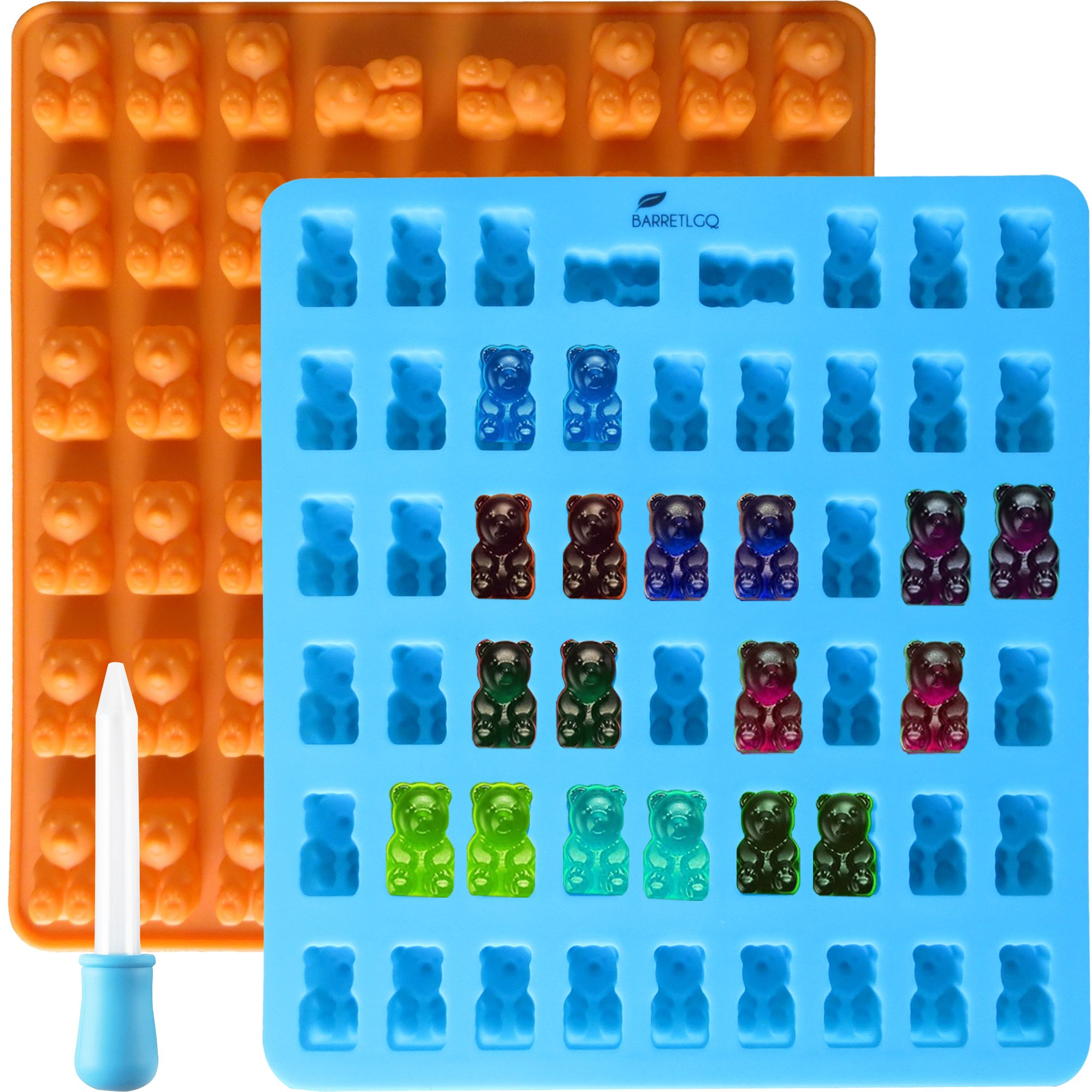 2 Pack 53 Cavity Silicone Gummy Bear Mold with a Dropper Making Gummy Candy Chocolate with Your Kids Together