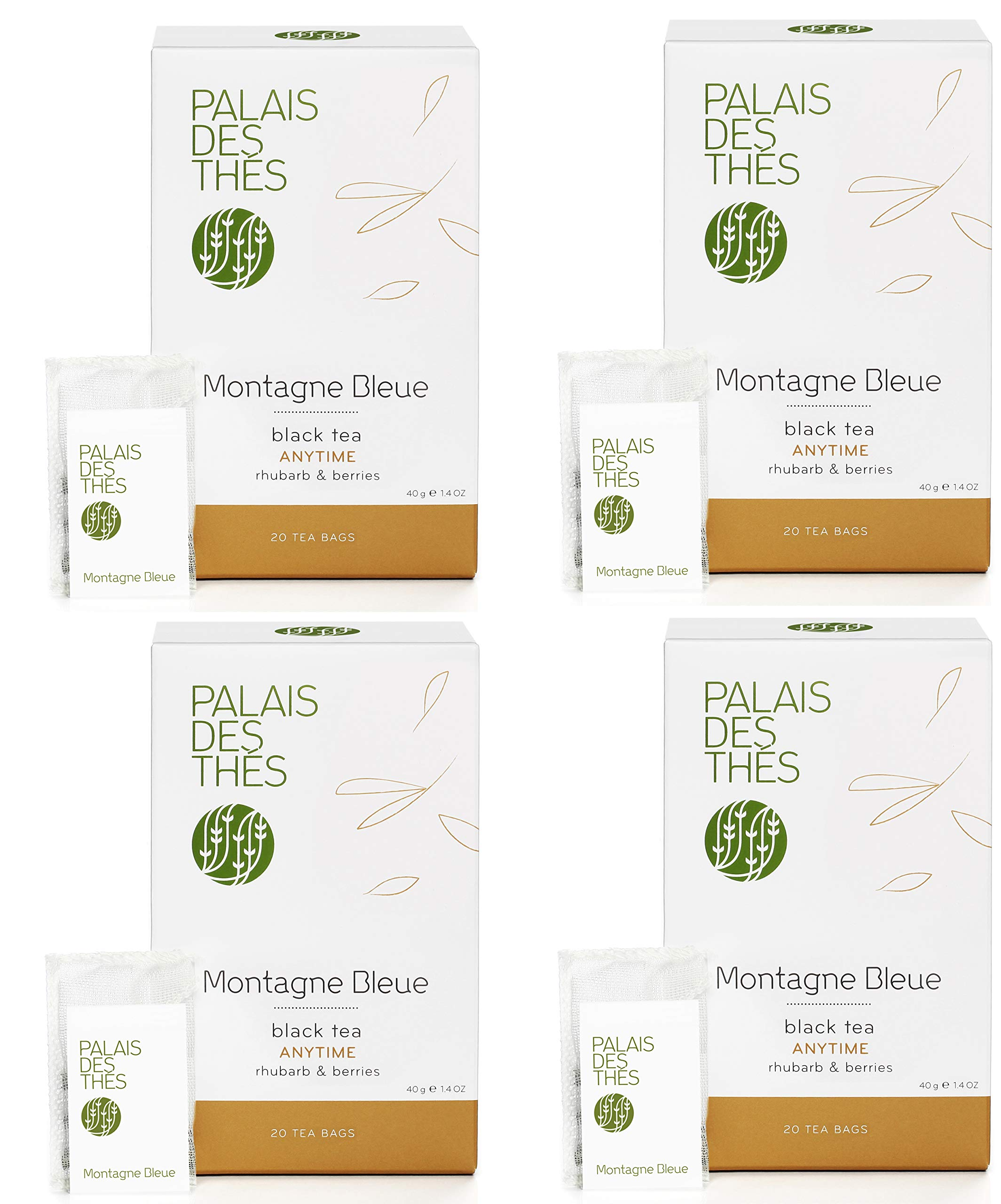 CDM product Palais des Thés Montagne Bleue, Black Tea with Rhubarb and Berries, 80 Tea Bags (4 Pack) big image