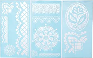 Martha Stewart Crafts Large Stencils (8.75 by 16.75-Inch), 32265 Cathedral Lace (3 Sheets with 11 Designs)