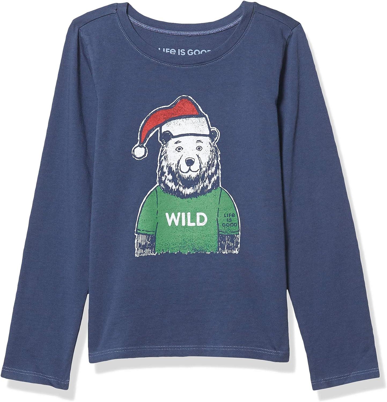 Life Is Good Girls Holiday Long Sleeve Crusher T-shirt Wild Santa Bear G