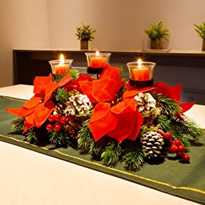 Juegoal Christmas Poinsettia Centerpiece with 3 Candle Holders, Pinecones and Red Berries, Christmas Decorations Holiday Candleabrum, Tabletop Centerpiece and Display