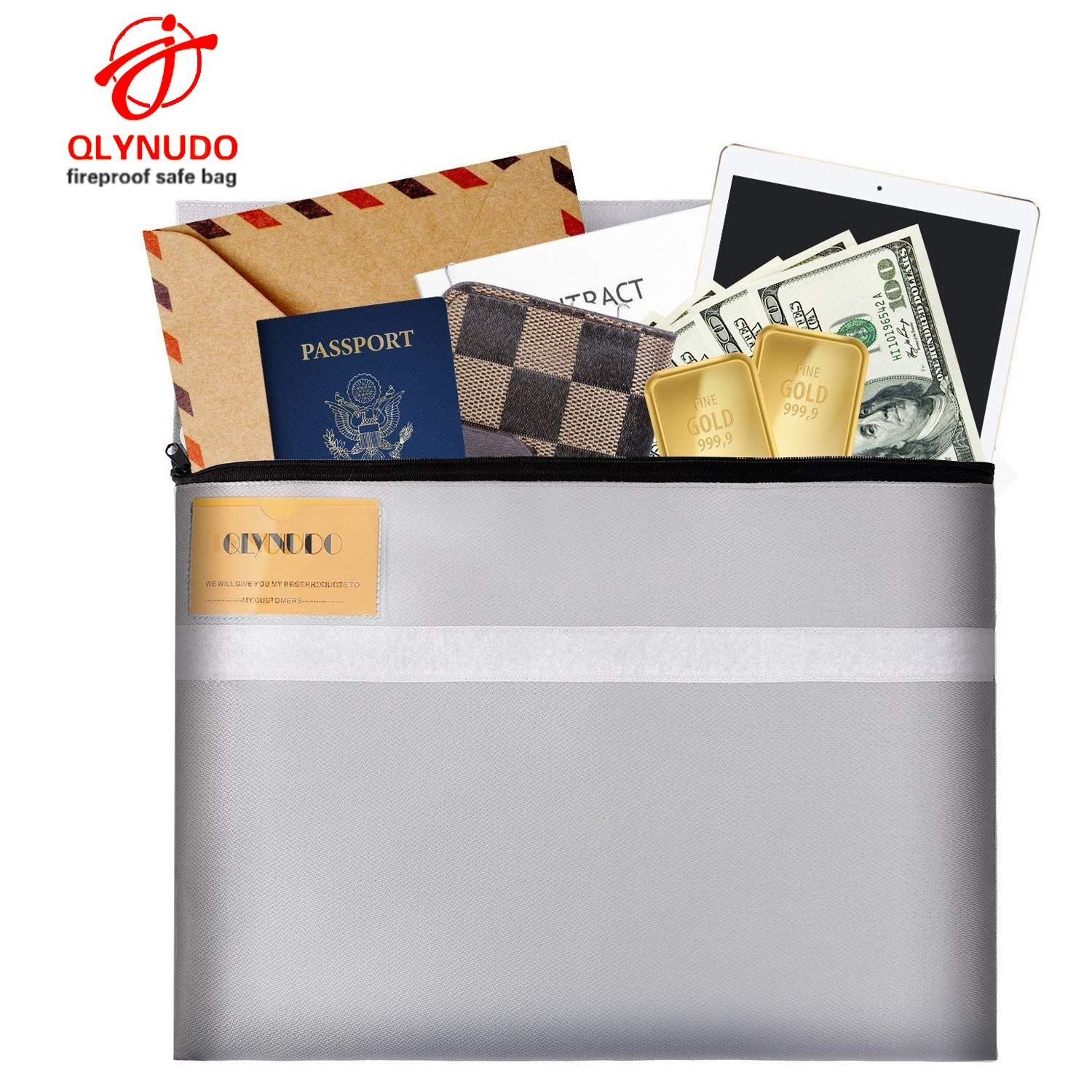 Fireproof Document Bag, fire Proof Safe Bag No Itchy Silicone Coated fire Resistant Money File Storage bag15.5X12.5 in