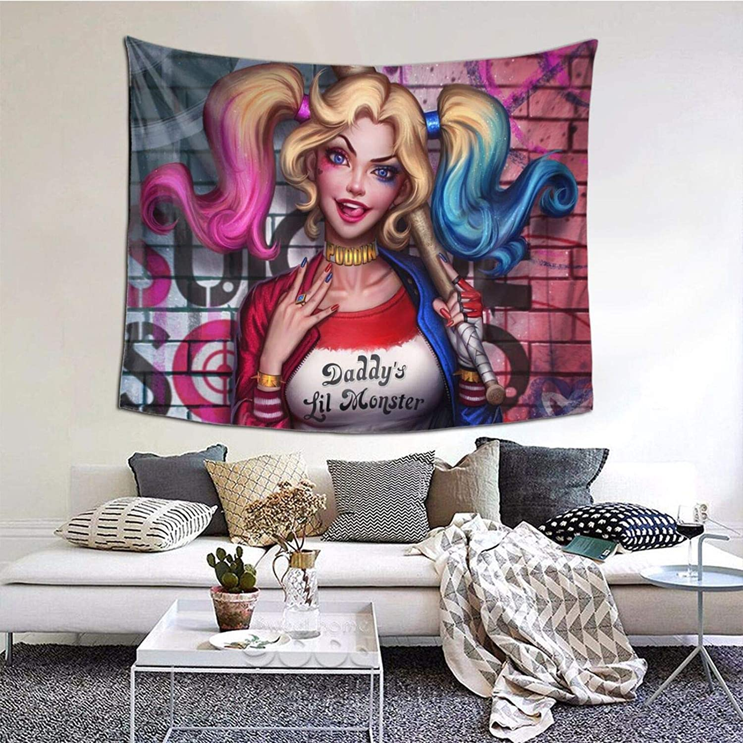 MAJJAKJH Decorative Tapestry Harley Quinn Art Wall Hanging Bedroom Living Room Dormitory TV Background Wall Blanket 60 X 51 inches