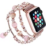 Sando Compatible for Apple Watch Band, Fashion Handmade Elastic Stretch Faux Pearl Bracelet Replacement Women Girls iWatch Bands Strap for Apple Watch Series 4/3/2/1 (42 mm, Rose Gold)