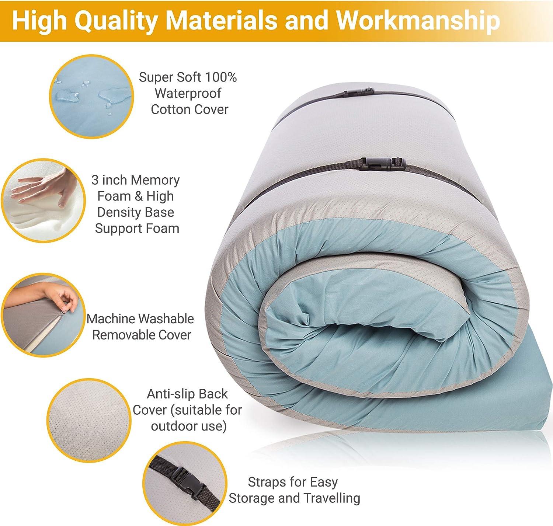 Waterproof Cotton Portable Sleeping Pad Twin, Kids Portable Bed Foam Camping Mattress Pad - Roll Out Hazli Most Comfortable Memory Foam Floor Mattress -