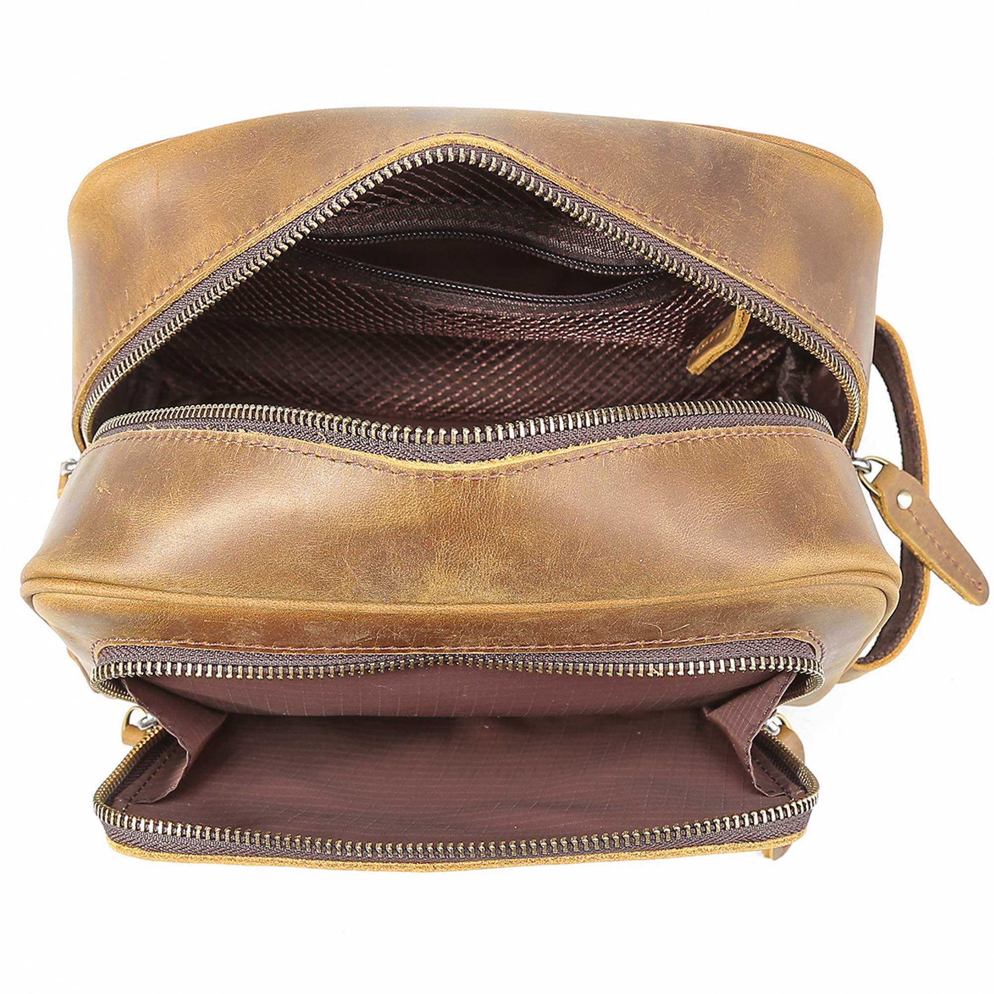 Polare Vintage Full Grain Leather Handmade Travel Toiletry Bag for Men - Dopp Kit - Shaving Kit by POLARE ORIGINAL (Image #9)