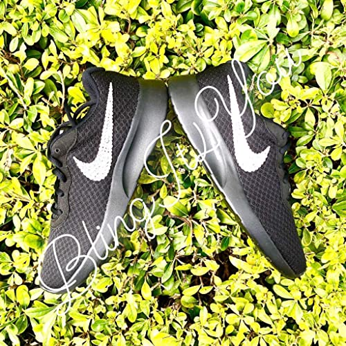 115ac0836 Amazon.com  HANDMADE Beedazzled Swarovski crystal Bling Logo for black  women Nike Tanjun shoes  Handmade