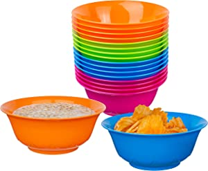 Pack of 16 - 20 Oz Cereal Bowls - Plastic Bowls for Kitchen – Reusable Kids Bowls – Toddler Bowls Microwave and Dishwasher Safe – BPA Free Snack Bowls – Great for Salad, Ice Cream, Dessert & Fruit