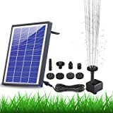AISITIN Solar Fountain Pump 6.5W Panel with Battery Backup Solar Water Pump Floating Fountain, 6 Nozzles, for Bird Bath