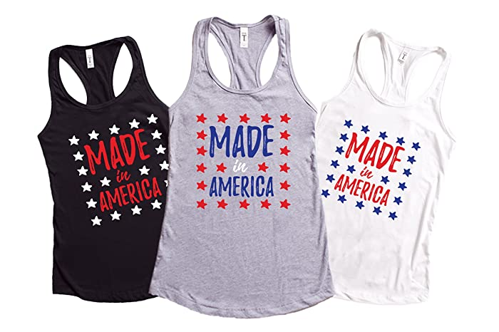 d24cbdce952d02 Image Unavailable. Image not available for. Color  Made In America 4th Of July  Tank