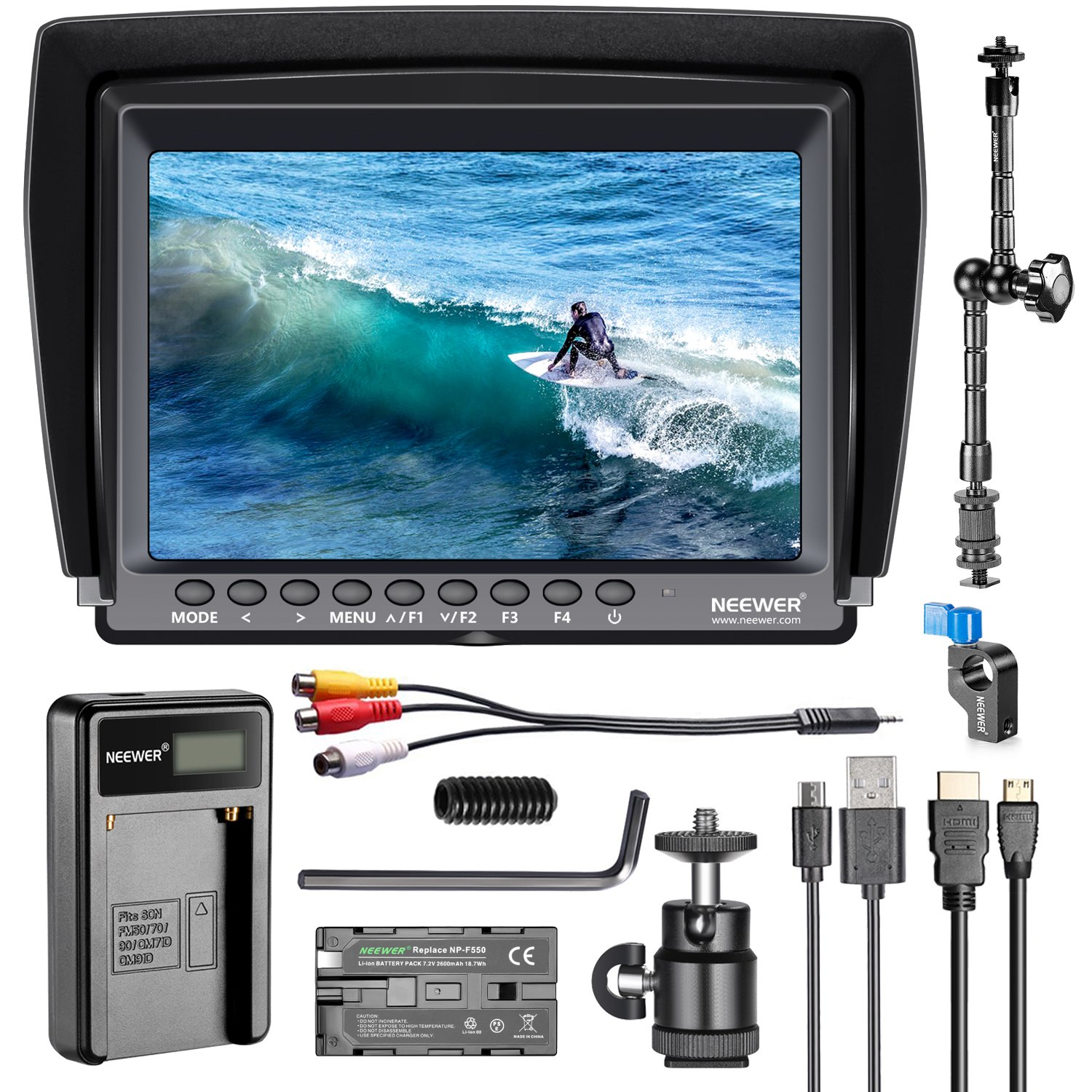 Neewer F100 7-inch 1280x800 IPS Screen Camera Field Monitor Kit: Support 4k input with 2600mAh Rechargeable Li-ion Battery, USB Battery Charger and 11.8-inch Magic Arm for DSLR Camera/Camcorder by Neewer (Image #1)