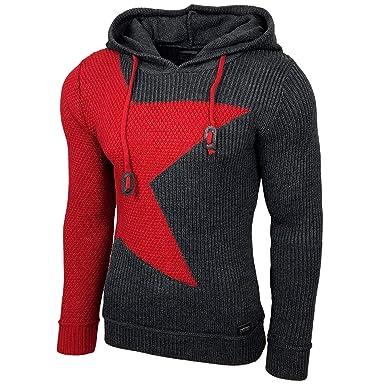 Herren Strick Pullover Hoodie Shirt Grobstrick Norweger, Farben:Anthrazit, Größe Pullover:S