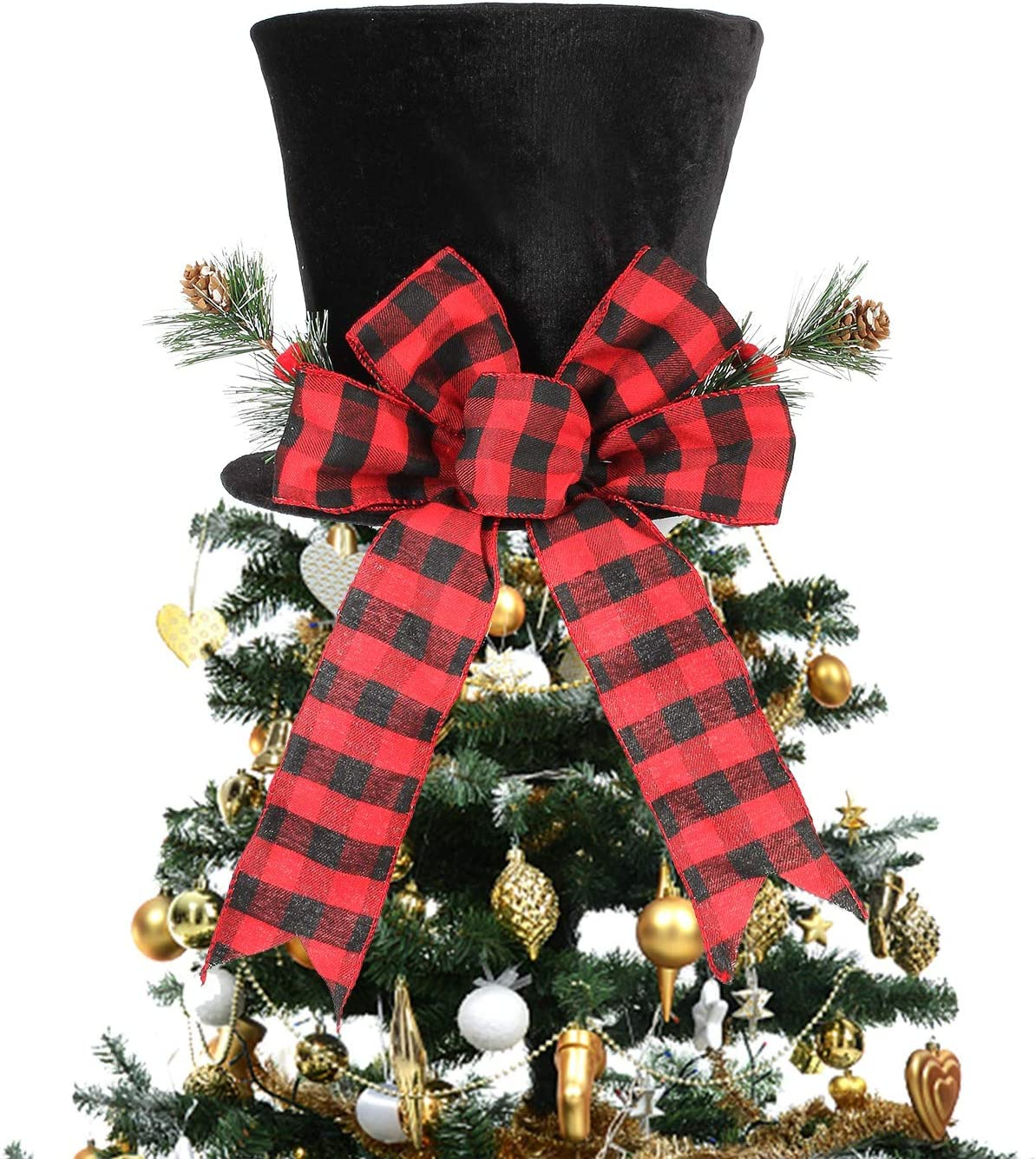 HMASYO Christmas Tree Topper Hat - Christmas Black Velvet Bowler Derby Hat Large Red Plaid Bow with Pine Cones Holly Berries Christmas Tree Decorations Desktop Ornaments for Holiday Home Decor