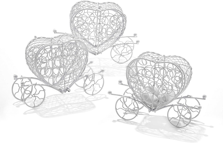 Caja con forma de carroza decorativa, fabricada en hierro, ideal como detalle para invitados, 10 unidades