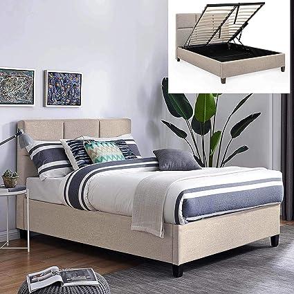 Movilier Deco - Cama con baúl contemporáneo, de tela beige con somier abatible, 160 x 200 cm