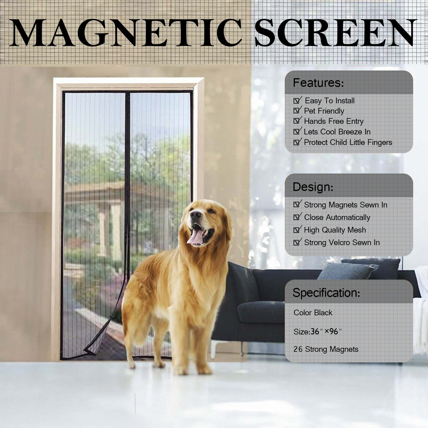 bay screen large area doors door patio screens pet with