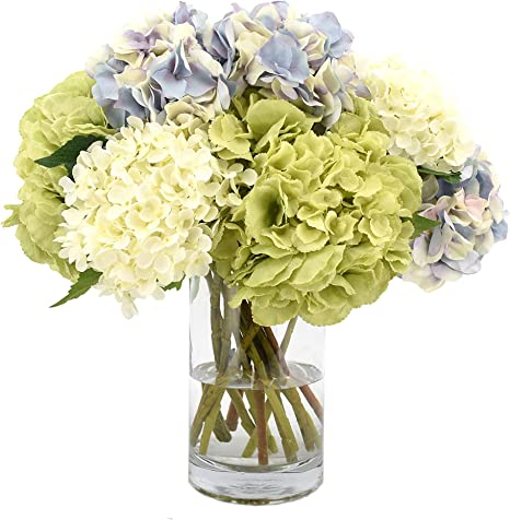 Amazon Com Creative Displays Mixed Hydrangea In Glass Vase Artificial Floral Arrangement One Size Lavender Home Kitchen