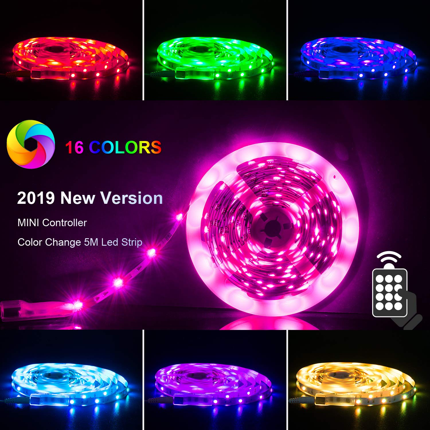LED Strips Lights 5m [Newest 2019], RGB 5050 LEDs Colour Changing Kit with  24key Remote Control and Power Supply, Mood Lighting Led Strips for Home