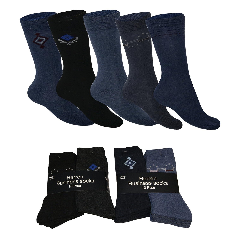 10 20 Paar Business Socken für Herren mit Motiv Unifarben Baumwolle Sport Freizeit Socken von SGS