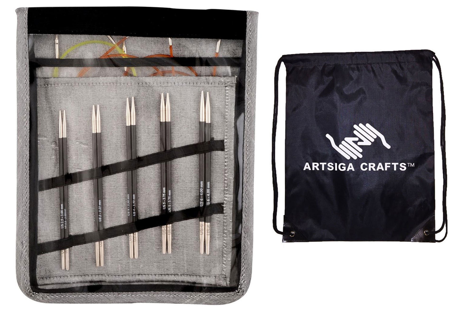 Knitter's Pride Karbonz Starter Interchangeable Long Tip Knitting Needle Set Bundle with 1 Artsiga Crafts Project Bag 110601
