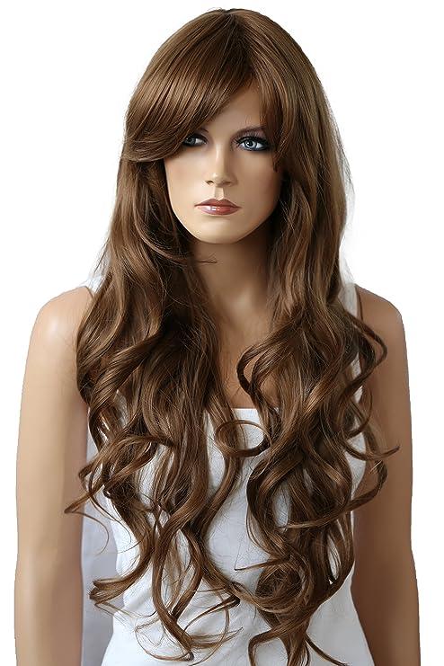 PRETTYSHOP Peluca unisexo de pelo largo y rizado, voluminoso de pelo sintético resistente al calor