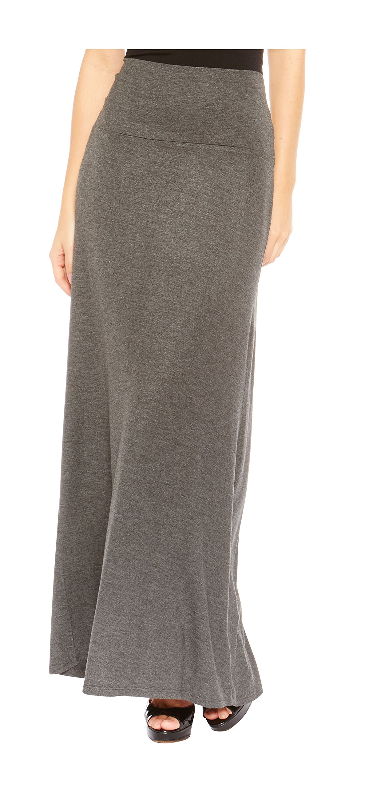 Red Hanger Women's Stylish Solid Long Maxi Skirt - Made in USA, Charcoal-XL