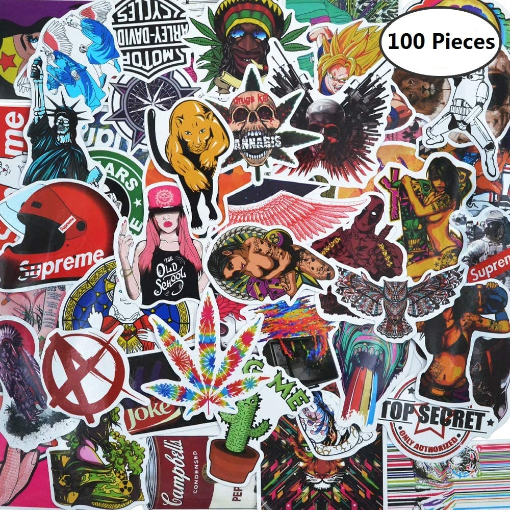 Random Sticker Pack[ 100 Pcs] Breezypals Variety Vinyl Car Sticker Motorcycle Bicycle Luggage Decal Graffiti Patches Skateboard Stickers for Laptop Stickers