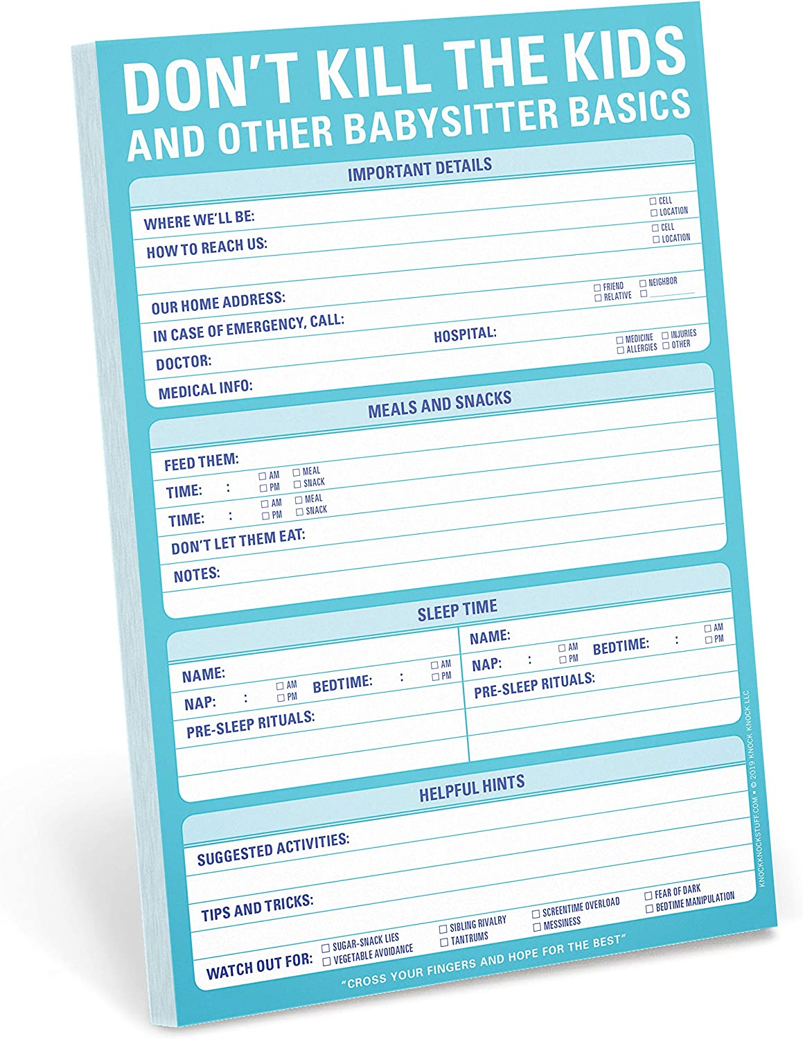 Knock Knock Don't Kill the Kids Babysitter Checklist Note Pad, 6 x 9-inches