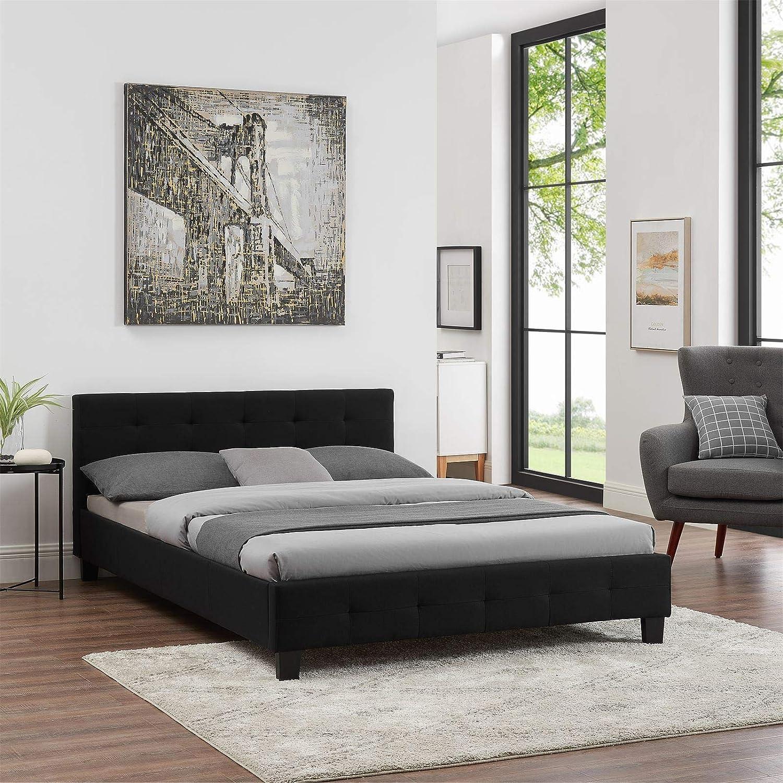 CARO-M/öbel Polsterbett Iowa Bettgestell 140 x 200 cm Doppelbett Designbett inklusive Lattenrost Textilbezug in schwarz