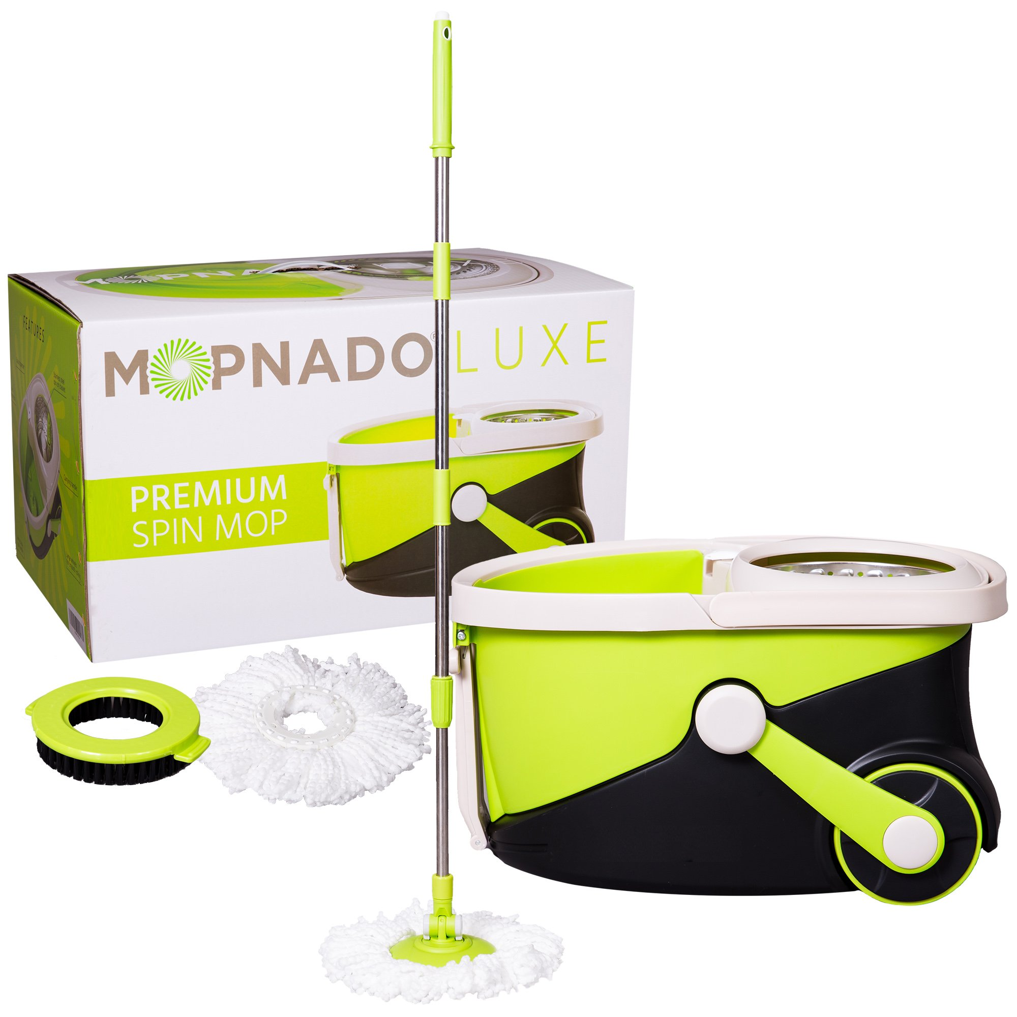 MOPNADO - Deluxe Stainless Steel Rolling Spin Mop System with 2 Replacement Microfiber Mop Heads and Brush Attachment - Walkable with Wheels - Perfect For All Floor Types - Home and Commercial Use by Mopnado