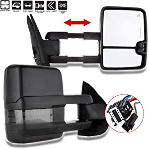 SCITOO Towing Mirrors Compatible fit for 2007-2014 for Chevy for GMC Silverado Suburban Towing Door Side Mirrors Pair Set Mirrors (07-14 Power Heated Signal