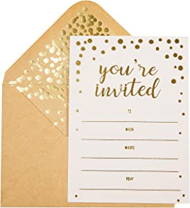 """50 Pack Invitation Card - Elegant Greeting Cards with ''You are Invited'' Embossed in Gold Foil Letters – for Wedding, Bridal Shower, Birthday Invitations - 52 Kraft Envelopes Included – 4"""" x 5.75"""""""