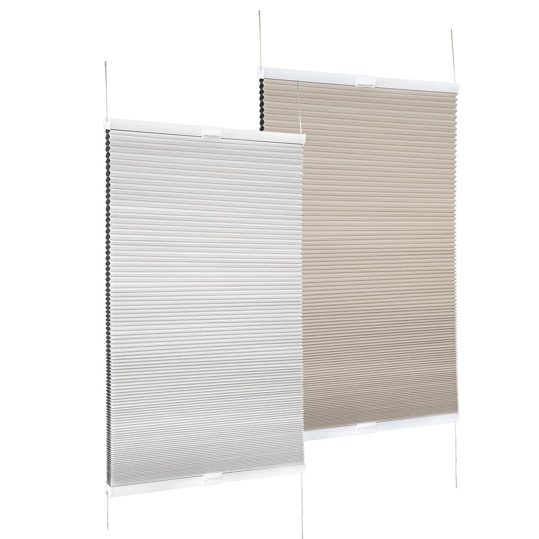 VICTORIA M Store duette/Store plissé thermique 40 x 130cm, beige, coté arriere blanc