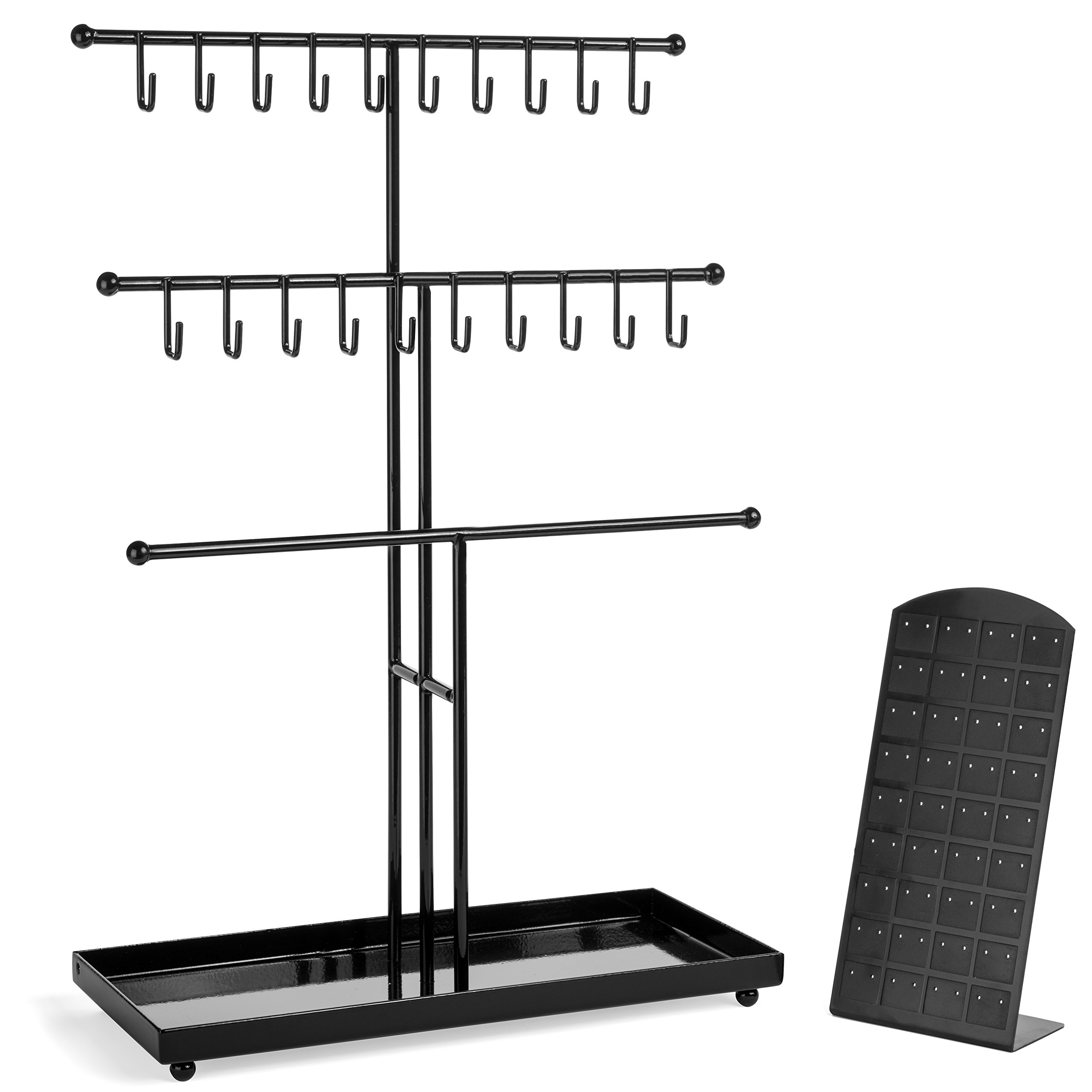 Black Metal 3 Tier Necklace, Bracelet,and Ring Jewelry Organizer Display