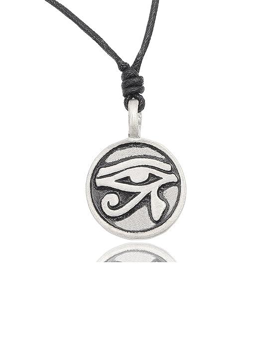Egyptian Eye Of Ra Horus Gold Brass Charm Necklace Pendant Jewelry