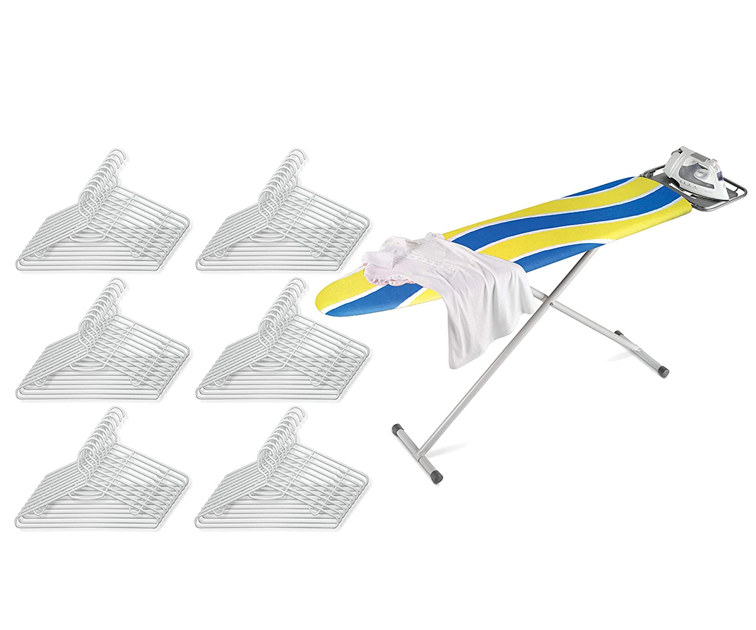 Honey Can Do Ironing Board with 2-Leg Stand and Iron Rest, Blue/Yellow bundle with Honey Can Do Recycled White Plastic Hangers, Pack of 60 (並行輸入) 141[並行輸入] B07S7FC9HX