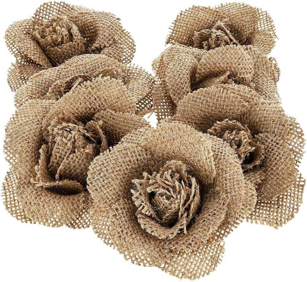 6-Pack Gray Burlap 3-Inch Flower Heads DIY Crafts Rustic Wedding Decor