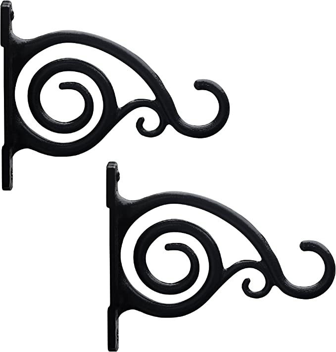 for Bird Feeders As Wall Brackets and More! 2-Pack Lanterns Planters Gray Bunny GB-6862B Hand Forged Straight Hook 15 Inch White Wind Chimes