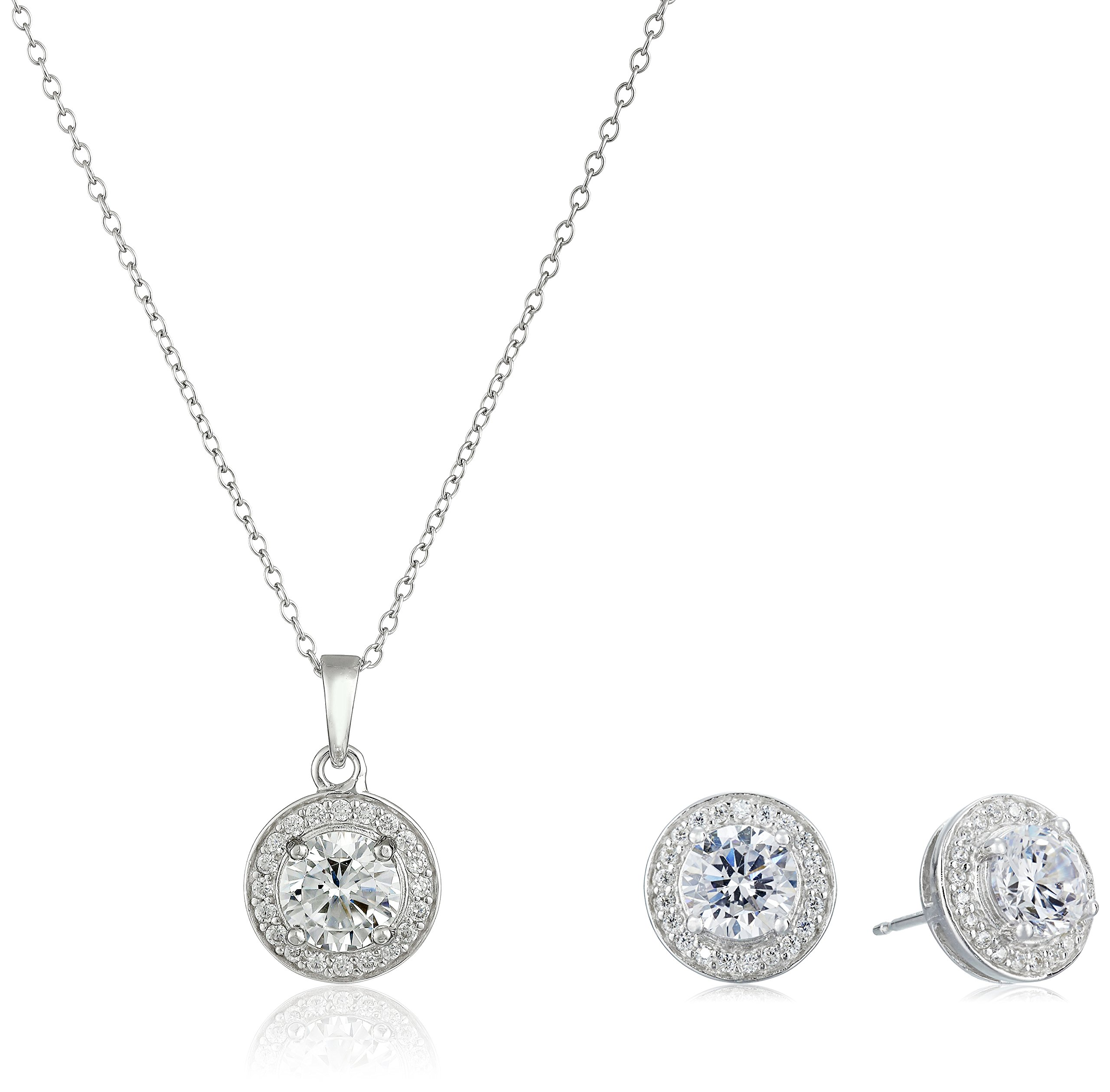 Sterling Silver Cubic Zirconia Halo Pendant Necklace and Stud Earrings Jewelry Set by Amazon Collection