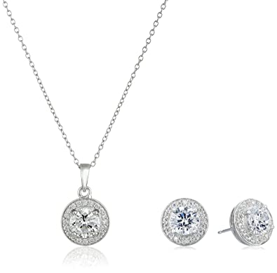 5bbfcef41 Amazon.com: Sterling Silver Cubic Zirconia Halo Pendant Necklace and Stud Earrings  Jewelry Set: Jewelry
