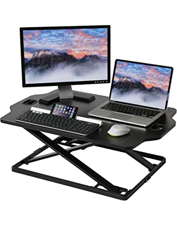 Seville Classics OFF65842 Airlift Large Pre-Assembled Laptop Sit-Stand Desk Converter Riser Slim