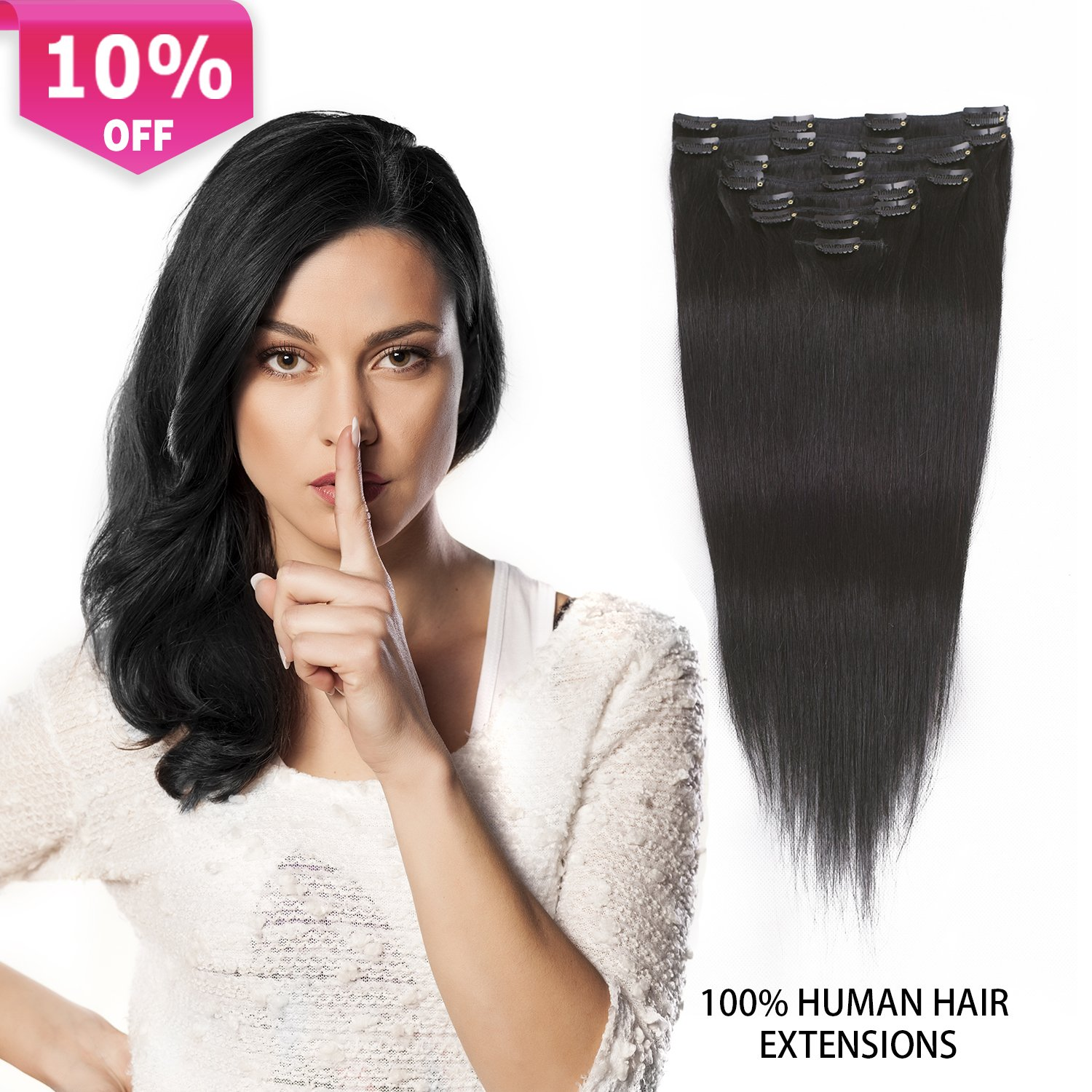 Amazon Clip In Extensions Black Human Hair Thick Clip In Hair