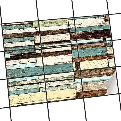 creatisto Aménager Salle d\'eau | Autocollant Sticker Carrelage - Tatouage  mosaïque Mural | Motif Schiffsbruch | 25x20 cm (9 pièces)