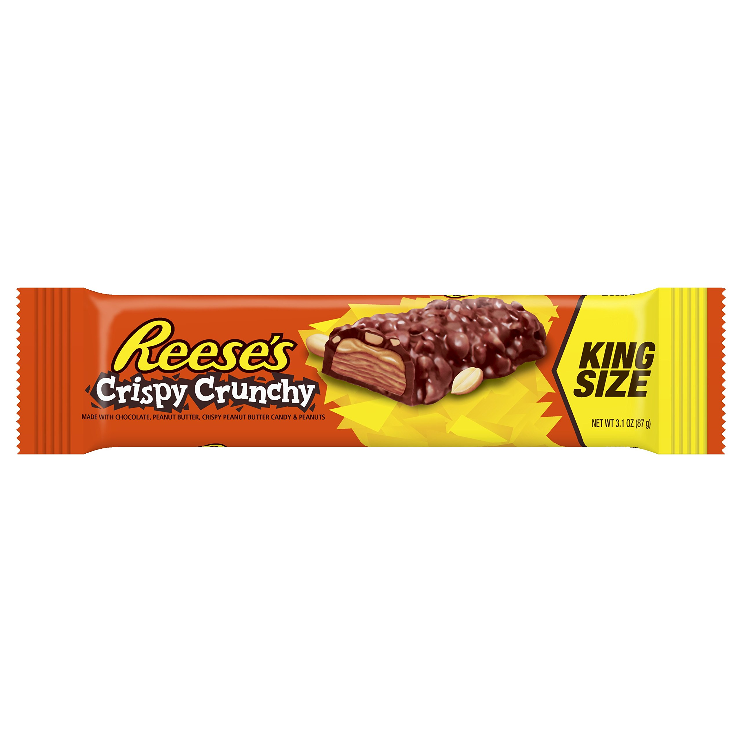 CDM product REESE'S Peanut Butter Candy Bar Crispy Crunchy Bars, King Size (Pack of 18) big image